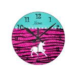 Name white unicorn hot pink glitter zebra stripes round clock