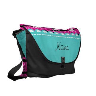 Name white unicorn hot pink glitter zebra stripes messenger bags
