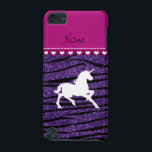 "Name white unicorn purple glitter zebra stripes iPod touch 5G cover<br><div class=""desc"">Fancy animal white unicorn silhouette on a purple glitter zebra stripes (not real glitter) pattern background and dark pink heart stripe. Personalized with your name gifts or monogram gifts or your initials. Cute unicorn gift ideas for girls and women. If you hit the customize it button you can change the...</div>"