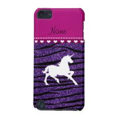 Name White Unicorn Purple Glitter Zebra Stripes Ipod Touch 5g Cover at Zazzle