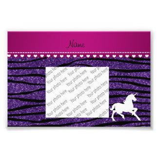 Name white unicorn purple glitter zebra stripes art photo