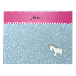 Name white unicorn sky blue glitter notepad
