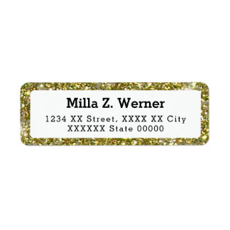 name with faux gold glitter label