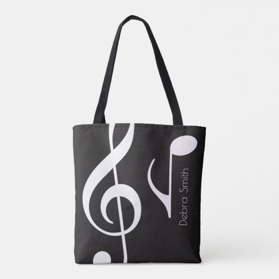 name with musical notes blk. tote bag