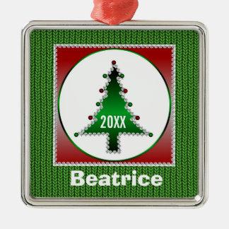 Name & Year Christmas Tree Premium Ornament