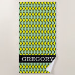 [ Thumbnail: Name + Yellow and Green Diamond Shape Pattern Beach Towel ]