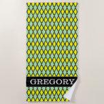 [ Thumbnail: Name + Yellow and Green Diamond Shape Pattern Beach Towel ]