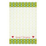 [ Thumbnail: Name + Yellow and Green Diamond Shape Pattern Stationery ]