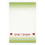 [ Thumbnail: Name; Yellow and Green Diamond Shape Pattern Stationery ]