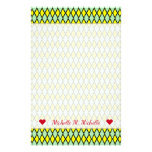 [ Thumbnail: Name + Yellow and Green Diamond Shape Pattern Stationery ]