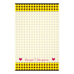 [ Thumbnail: Name + Yellow and Orange Dots/Circles Pattern Stationery ]