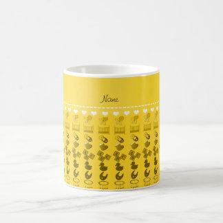 Name yellow baby bottle rattle pacifier stork coffee mug