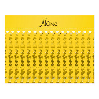 Name yellow baby bottle rattle pacifier stork postcard