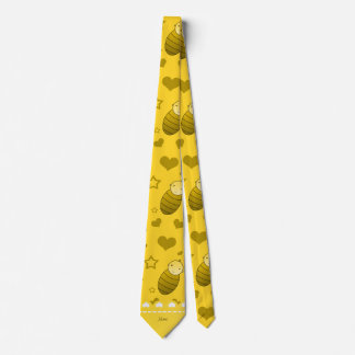Name yellow baby stork hearts stars tie