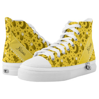 Name yellow baby teddy bear stars moons High-Top sneakers
