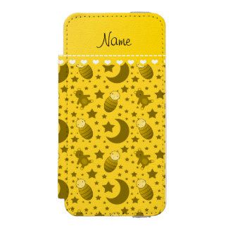Name yellow baby teddy bear stars moons iPhone SE/5/5s wallet case