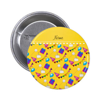 Name yellow birthday bunting cake hat balloons 2 inch round button