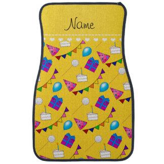 Name yellow birthday bunting cake hat balloons car floor mat