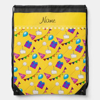 Name yellow birthday bunting cake hat balloons drawstring bag