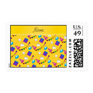 Name yellow birthday bunting cake hat balloons postage stamps