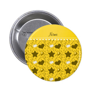 Name yellow birthday cake balloons hearts stars 2 inch round button