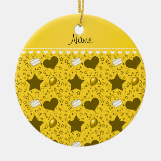 Name yellow birthday cake balloons hearts stars ceramic ornament