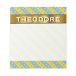 [ Thumbnail: Name + Yellow/Blue Hearts and Stripes Pattern Notepad ]