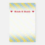 [ Thumbnail: Name + Yellow/Blue Hearts and Stripes Pattern Notes ]