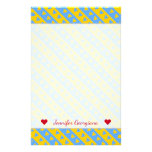 [ Thumbnail: Name + Yellow/Blue Hearts and Stripes Pattern Stationery ]