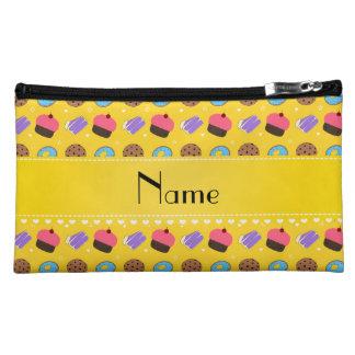 Name yellow cupcake donuts cake cookies cosmetic bag
