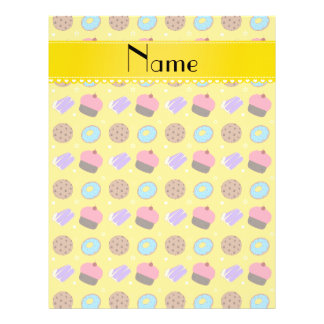 Name yellow cupcake donuts cake cookies personalized flyer