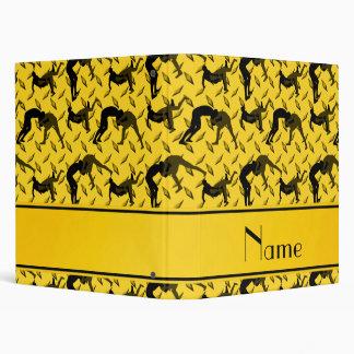 Name yellow diamond steel plate wrestling 3 ring binder