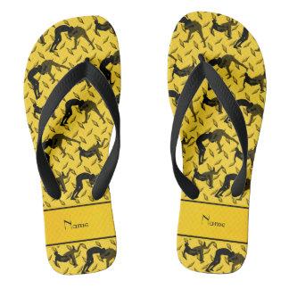 Name yellow diamond steel plate wrestling flip flops
