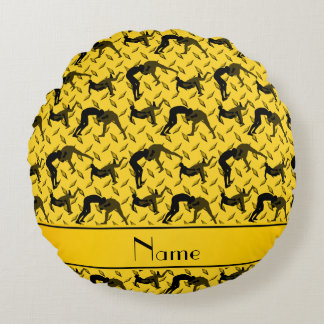 Name yellow diamond steel plate wrestling round pillow