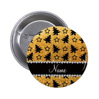 Name yellow glitter christmas trees stars button