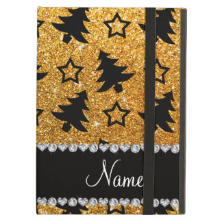 Name yellow glitter christmas trees stars cover for iPad air