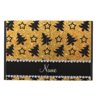 Name yellow glitter christmas trees stars iPad air cover