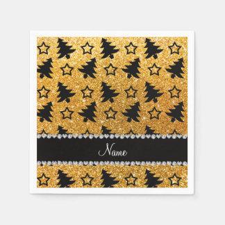 Name yellow glitter christmas trees stars paper napkin