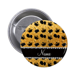 Name yellow glitter crowns balloons cake 2 inch round button