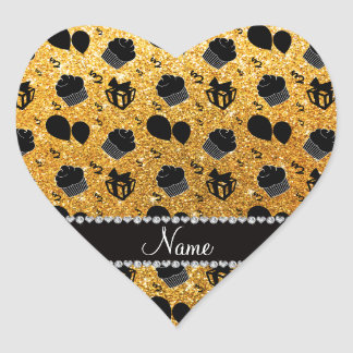 Name yellow glitter cupcakes balloons presents heart sticker