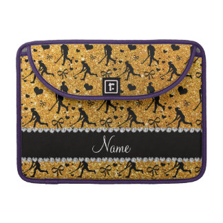 Name yellow glitter field hockey hearts bow sleeves for MacBook pro