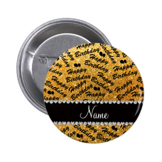 Name yellow glitter happy birthday balloons 2 inch round button