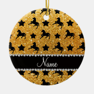 Name yellow glitter horses stars ceramic ornament