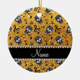 Name yellow glitter music notes sugar skulls ceramic ornament