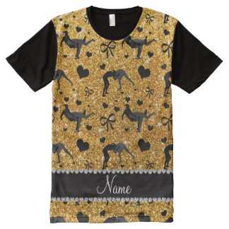 Name yellow glitter wrestling hearts bows All-Over print t-shirt