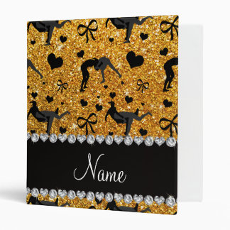 Name yellow glitter wrestling hearts bows binder