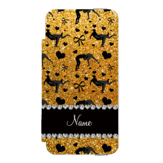 Name yellow glitter wrestling hearts bows iPhone SE/5/5s wallet case