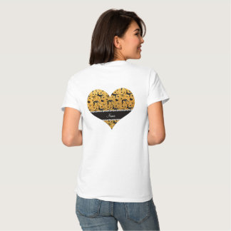 Name yellow glitter wrestling hearts bows tee shirt