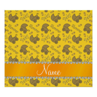 Name yellow gold baby carriages pins baby shower poster