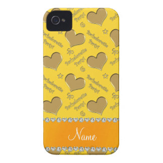 Name yellow gold hearts bachelorette party iPhone 4 case